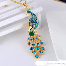 jewellery necklace vintage images Wholesale retro luxury jewelry colorful peacock pendant vintage jpg