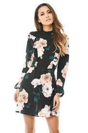 ax paris womens high neck floral mini dress black long sleeves