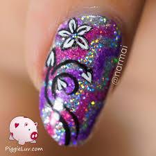 piggieluv sparkly chevrons u0026 floral nail art