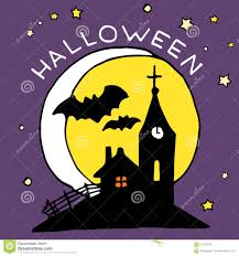happy halloween cartoon icon with haunted castle and bats stock