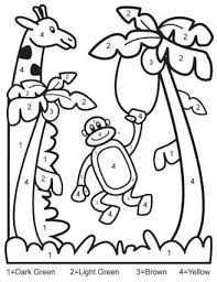 preschool jungle coloring pages color by number download this printable jungle color by numbers