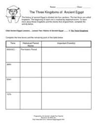 the three kingdoms of ancient egypt 6th grade worksheet lesson