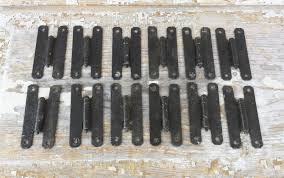 12 vintage black textured wrought iron finish metal cabinet hinges