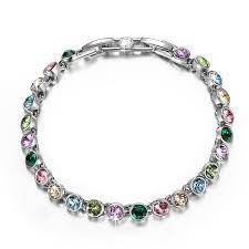 amazon com qianse white gold plated tennis bracelet multicoloured