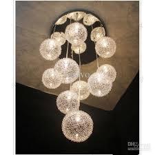 Glass Orb Ceiling Light Pendant Light 10 Heads Glass Aluminum Wire Glass