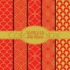 new year wrapping paper set of geometric national seamless pattern collection of