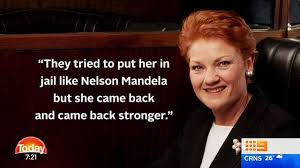 Meme Nelson - pauline hanson like nelson mandela nine thinks so queensland