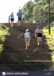 Fit Botanical Gardens Keep Fit Joggers Running Up Fleet Steps Near Botanical Gardens