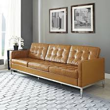 modern tufted leather sofa mid century brown leather modern tufted sofa with stainless steel