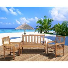 Milano Patio Furniture by Milano Fsc Eucalyptus Wood 3 Piece Patio Conversation Set Seats 4