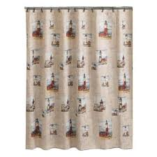 Home Essentials Curtains Essential Home Point Bay Lighthouse Fabric Shower Curtain Home