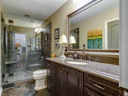 traditional 3 4 bathroom with raised panel u0026 frameless showerdoor