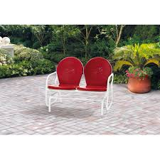 Patio Glider Bench Mainstays Retro Metal Glider Red Seats 2 Walmart Com