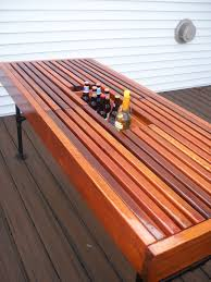 Build Outdoor Patio Table by Cedar Outdoor Table With Built In Wine U0026 Beer Cooler With Metal