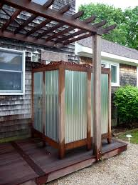 unique outdoor shower design cement patio