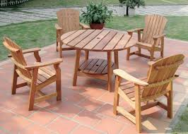 ordinary hardwood patio set round picnic table with four deck