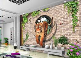 3d room wallpaper custom photo non woven mural brick walls round hole tigers painting picture 3d wall murals wallpaper for walls 3 d wallpapers