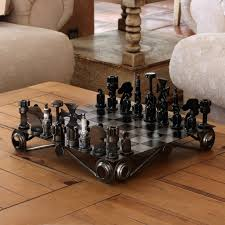 recycled metal chess set
