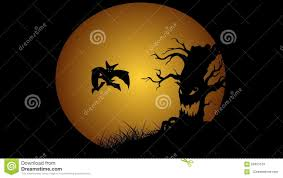 halloween animation with moon evil spooky scary horror tree and