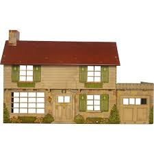 House With Garage Tin Colonial Doll House With Garage Marx From Legacylane On Ruby Lane