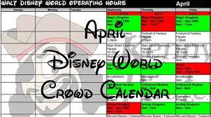 april 2017 disney world crowd calendar park hours and magic