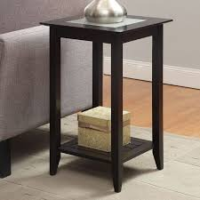 square glass end table convenience concepts carmel square wood and glass end table with