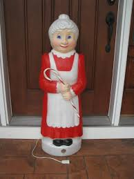 mrs claus blow mold with candy cane lighted union products 40