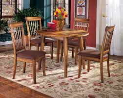 Round Dining Room Table With Leaf Ashley Furniture Berringer Hickory Stained Hardwood Round Drop