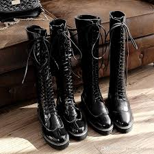 motorcycle booties long boots for women flat heel lace up fall winter women s