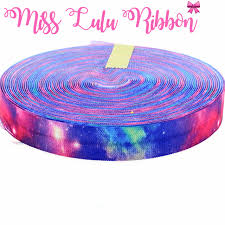 galaxy ribbon 5 8 16mm rainbow sky galaxy printed fold elastic ribbon
