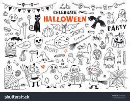halloween drawings vector set design elements stock vector