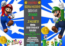 mailed invitation twins boys mario luigi birthday celebration