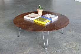 hairpin leg coffee table round mid century modern eames inspired coffee table mid century modern