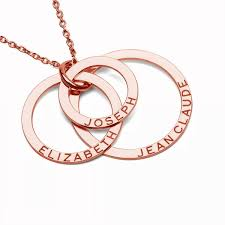 rose gold rings necklace images Triple rings necklace with engrave silver 925 rose gold plated jpg
