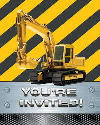 construction party invitations ideas personalized excavator