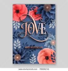 love poster vector big paper flower stock vector 706081741