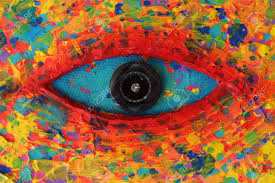 Colorful Painting turquoise eye texture of colorful painting stock photo picture