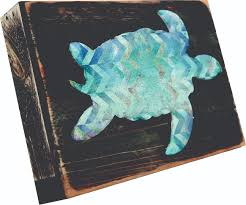 turtle art on reclaimed wooden board wall home decor