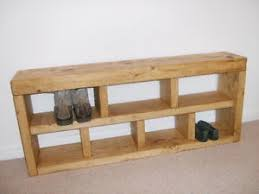 Shoerack Bench Shoe Rack Hall Bench Storage Seat Handmade Solid Chunky Rustic