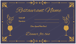 dinner gift cards dinner for two certificate template