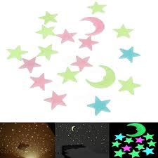pcs plastic glowing the dark moon stars stickers wall art pcs plastic glowing the dark moon stars stickers wall art home party diy decor
