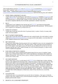 Rental House Lease Agreement Template Free Standard Residential Lease Agreement Templates Pdf Word