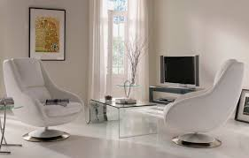 Small Swivel Chairs For Living Room Living Room Astounding White Colored Leather Swivel Chair Living