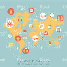 World Map Flat by Global Business Worldwide Flat Style Design Vector Illustration