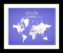 Etsy World Map by Side By Side Sisters Connected By Heart World Map Gift For