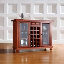 Wood Bar Cabinet Liquor Cabinet Storage Round Shape Wooden Bar Table Dark Wrought