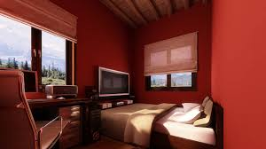 small bedroom colors and designs with amazing red wall painting
