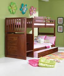 Bunk Bed With Stairs And Trundle Donco Kids Mission Stair Step Twin Over Twin Bunk Bed With Trundle