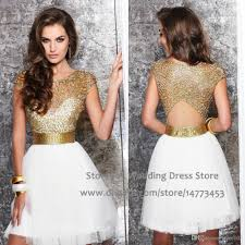 retro cocktail party white gold robe cocktail dresses short backless beaded cap sleeve