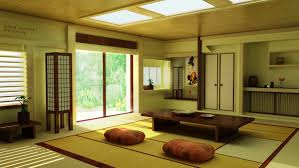 japanese living rooms wooden table on beige carpet sliding glass